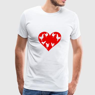 Chicken Coop Chicken Love - Red Chicken Heart - Men's Premium T-Shirt