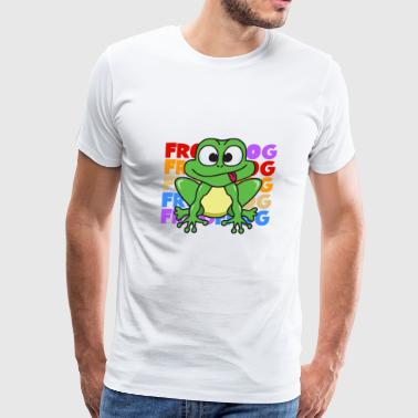 Vintage Retro Pop Art Style Frog Toad Animals - Men's Premium T-Shirt