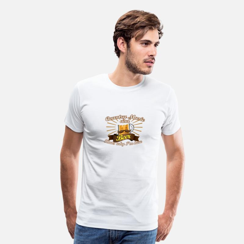 Love T-Shirts - Country Music Beer Love Thats Why Im Here - Men's Premium T-Shirt white