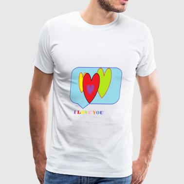 I LOVE YOU-Hears - Men's Premium T-Shirt