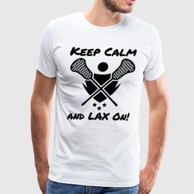 Lacrosse Keep Calm and LAX On Lacrosse Player - Men's Premium T-Shirt
