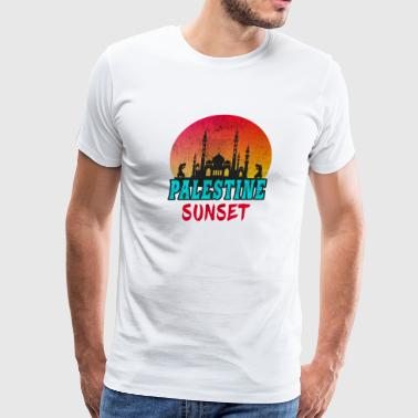 Muslims Palestine Sunset Vintage / Gift Gaza Mosque Islam - Men's Premium T-Shirt