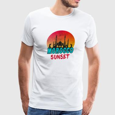 Flag Of Morocco Morocco Sunset Vintage / Gift North Africa Islam - Men's Premium T-Shirt