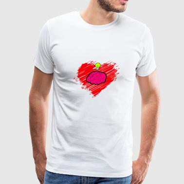 Heart Love Brain Smart Clever Gift Idea - Men's Premium T-Shirt