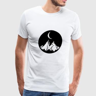 Funny Moon Cartoon mountain, sky and moon - Men's Premium T-Shirt