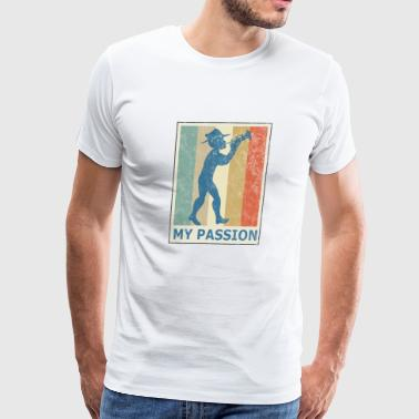 Retro Vintage Style Trumpet Player Musician Jazz - Men's Premium T-Shirt