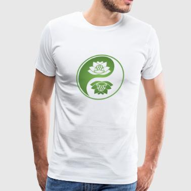 Yin yang with lotos - Men's Premium T-Shirt