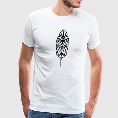 Tribal Shape Feather Maori Tattoo Ancient Tribe - Men's Premium T-Shirt