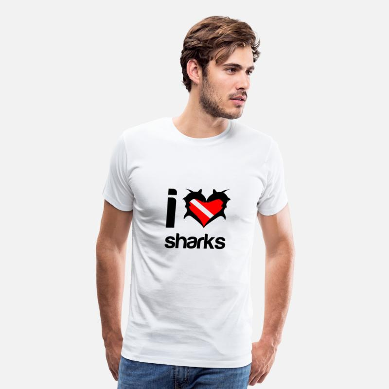 Cool T-Shirts - I Love Sharks - Men's Premium T-Shirt white