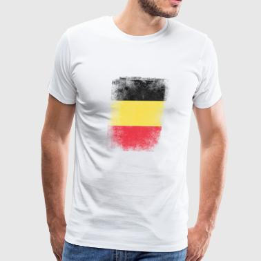 Belgium Flag Proud Belgian Vintage Distressed - Men's Premium T-Shirt