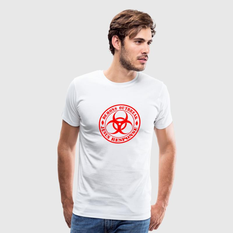 JESUS RESPONSE demons outbreak/zombie hunter  RED - Men's Premium T-Shirt