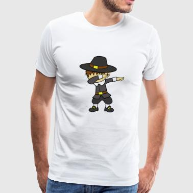 Dabbing Dancing Pilgrim Thanksgiving - Men's Premium T-Shirt