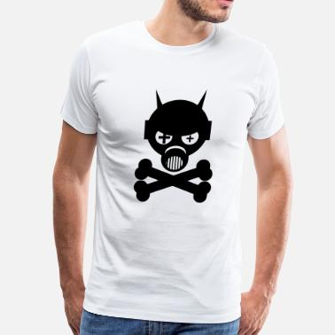Hardstyle Kids Gas Mask And Crossbones - Men's Premium T-Shirt