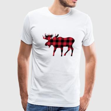 Moose Silhouette in Red and Black Buffalo Plaid - Men's Premium T-Shirt