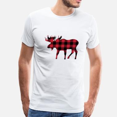 Plaid Moose Silhouette in Red and Black Buffalo Plaid - Men's Premium T-Shirt