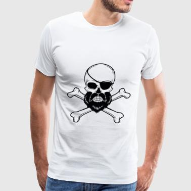 Beard And Crossbones Bearded Skull With Eyepatch | Pirate Crossbones - Men's Premium T-Shirt