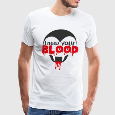 Voodoo I Need Your Blood T Shirt Scary Halloween Dracula - Men's Premium T-Shirt