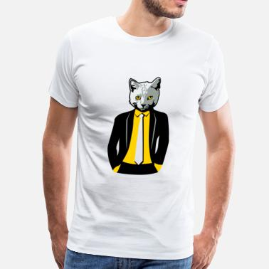 Cat Suit Cat in Business Suit - Men's Premium T-Shirt