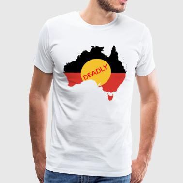 Aboriginal Flag Australian Aboriginal Flag on Australia - Deadly - Men's Premium T-Shirt