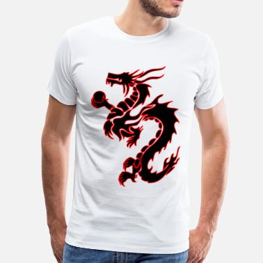 Emperor No Clothes tribal_chinese_dragon bk/rd - Men's Premium T-Shirt