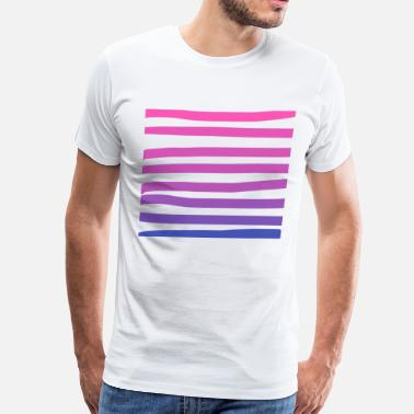 Ombre Blue/Pink Ombre Stripes - Men's Premium T-Shirt