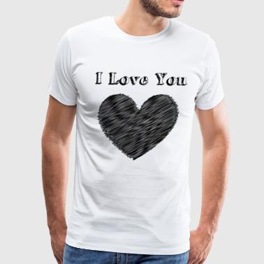Red Black Heart Illustration Love with heart - Men's Premium T-Shirt