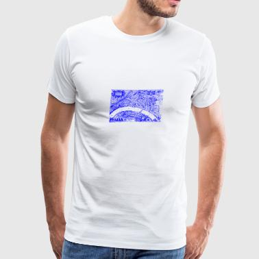 Basel silhouette from 1615 Blue - Men's Premium T-Shirt
