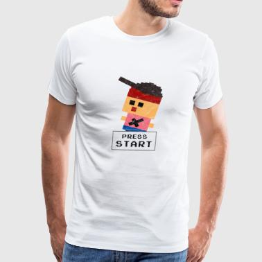 Press Start, 8-Bit Retrogaming Pixel Gamershirt - Men's Premium T-Shirt