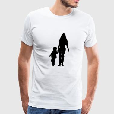 mom and son silhouettes - Men's Premium T-Shirt