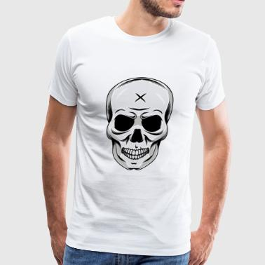 Evil Skull Black White - Men's Premium T-Shirt