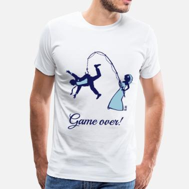 Funny Wedding Game Over (Bride Fishing Husband) - Men's Premium T-Shirt