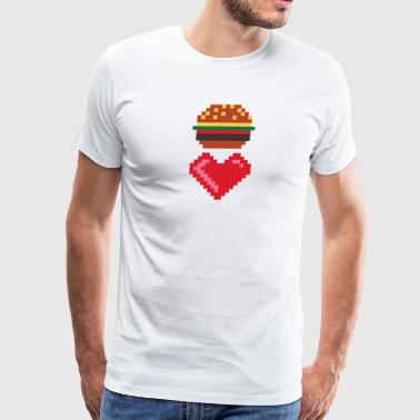 8 BIT BURGER LOVE geek nerd - Men's Premium T-Shirt