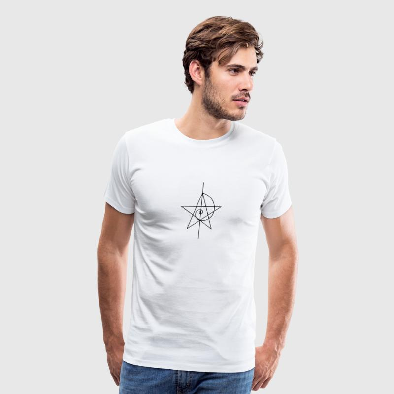 Pentagram, five star, spiral, alchemy, magic, witches, character, fibonacci, compasses, gothic, pagan - Men's Premium T-Shirt