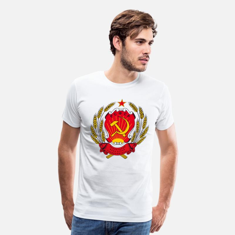 Russian Flag T-Shirts - Coat of Arms Gerb RSFSR Russian Federation - Men's Premium T-Shirt white