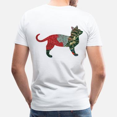 Pussy Media artTS collage art CALICO CAT redz brownz - Men's Premium T-Shirt