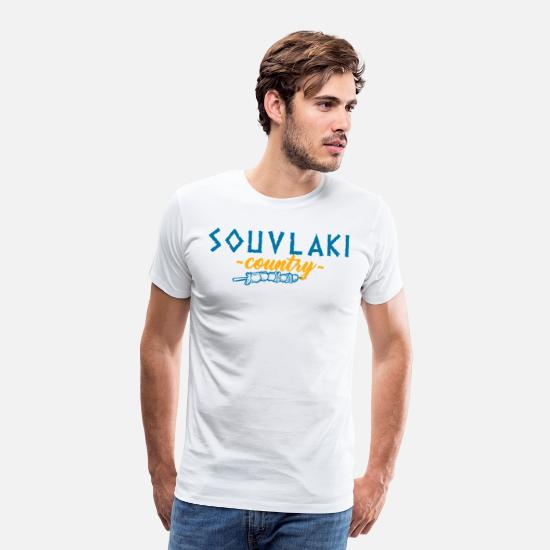 Greece T-Shirts - Souvlaki country Greece meal food barbecue - Men's Premium T-Shirt white