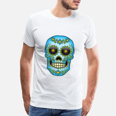Los Blue Floral Sugar Skull - Men's Premium T-Shirt