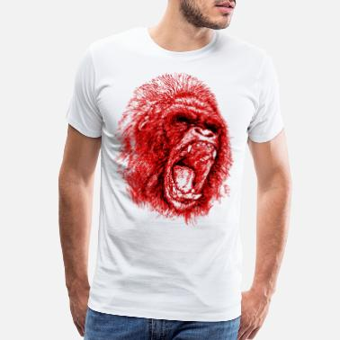 Animal Gorilla Roaring Red ! - Men's Premium T-Shirt