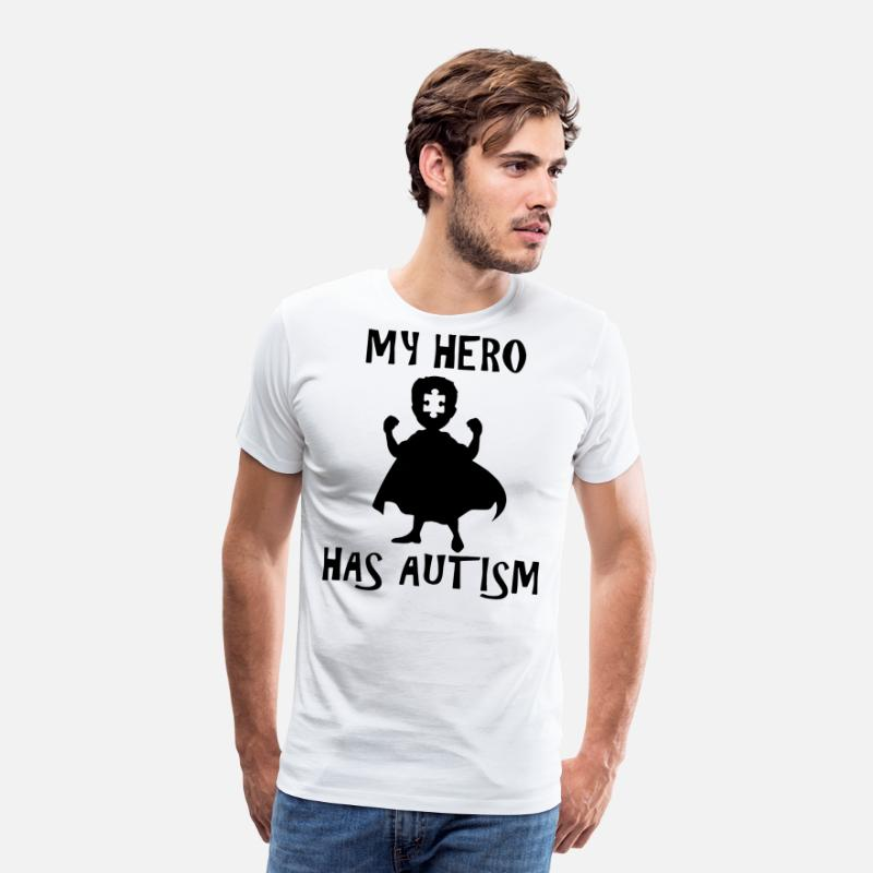 Autism T-Shirts - my hero has autism - Men's Premium T-Shirt white