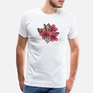 Embroidery Plumeria Flower Embroidery - Men's Premium T-Shirt