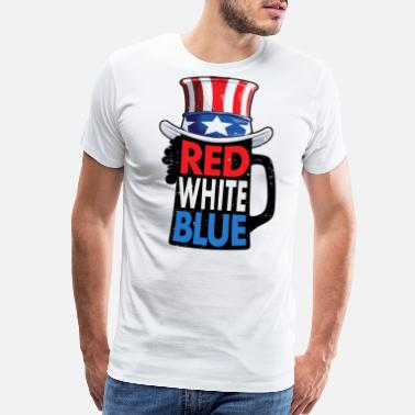 Murica Red White Blue Beer 4th of July T shirt Men Women - Men's Premium T-Shirt