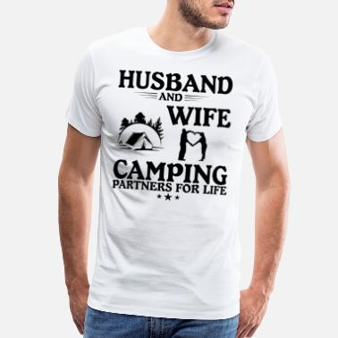 Husband And Wife Camping camping camper husband wife present - Men's Premium T-Shirt