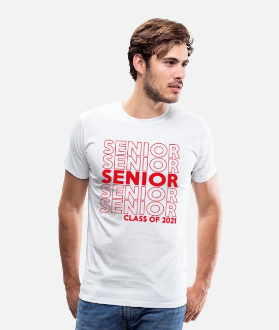 Senior Class T-Shirts - Class Of 2021 Senior Repeat Pattern - Men's Premium T-Shirt white
