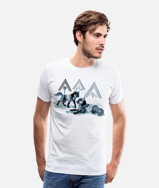 Love T-Shirts - Two Wolves Nature art pack Design - Men's Premium T-Shirt white