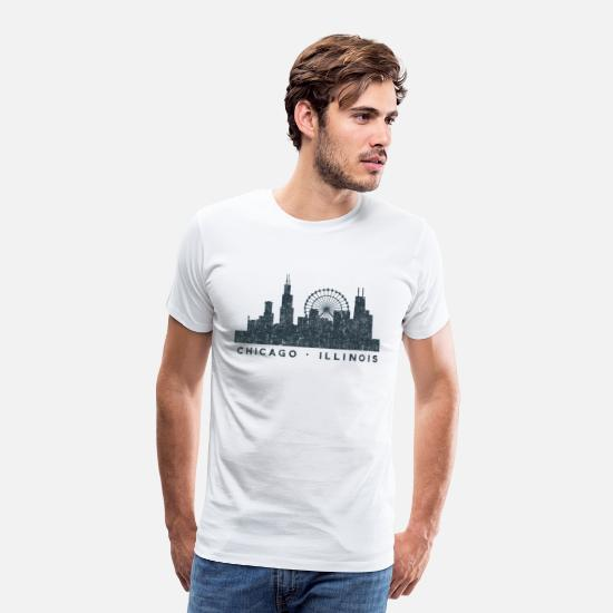 Chicago T-Shirts - Chicago Illinois Skyline Architecture Souvenir - Men's Premium T-Shirt white