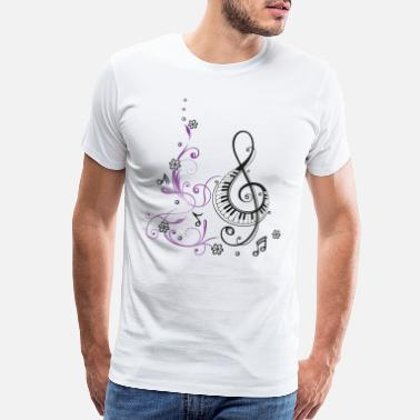 Wit Clef with piano, flowers and music notes - Men's Premium T-Shirt