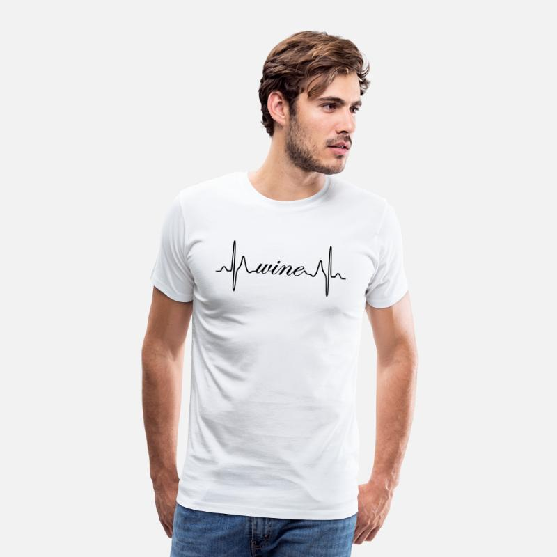 Wine Festival T-Shirts - Wine ECG heartbeat - Men's Premium T-Shirt white
