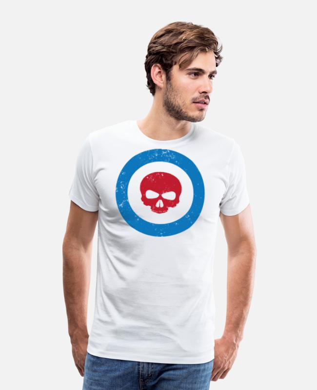 British T-Shirts - Mod Scooter RAF Roundel - Men's Premium T-Shirt white