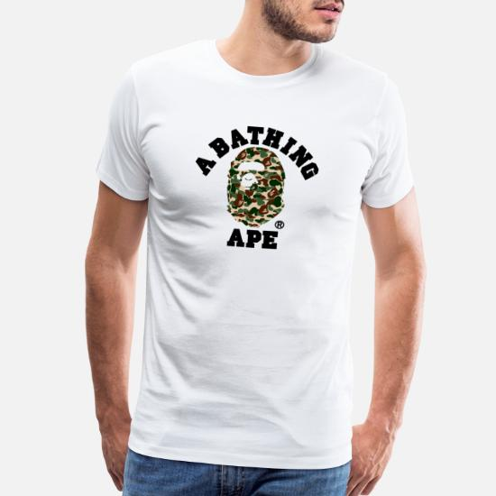 eb8eb9dc Ape T-Shirts - BAPE A BATHING APE - Men's Premium T-Shirt white
