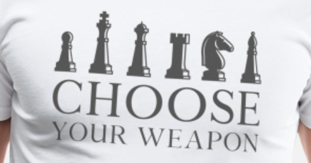 Mens Choose Your Weapon Chess Pieces Game Novelty Sweatshirt